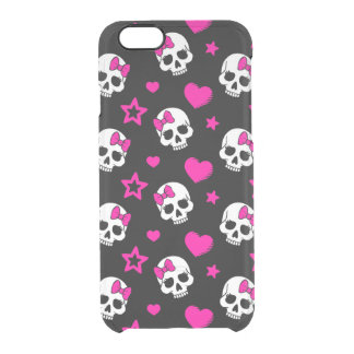 Lovey Goth Skulls in Bright Pink Clear iPhone 6/6S Case