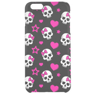 Lovey Goth Skulls in Bright Pink Clear iPhone 6 Plus Case