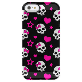 Lovey Goth Skulls in Bright Pink Clear iPhone SE/5/5s Case