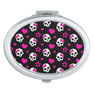 Lovey Goth Skulls in Bright Pink Compact Mirror