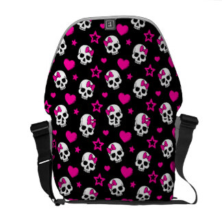 Lovey Goth Skulls in Bright Pink Courier Bag