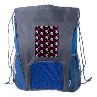 Lovey Goth Skulls in Bright Pink Drawstring Backpack