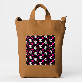 Lovey Goth Skulls in Bright Pink Duck Bag