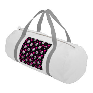 Lovey Goth Skulls in Bright Pink Duffle Bag