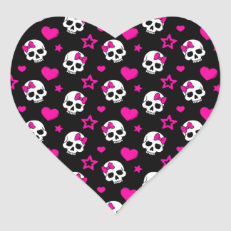 Lovey Goth Skulls in Bright Pink Heart Sticker