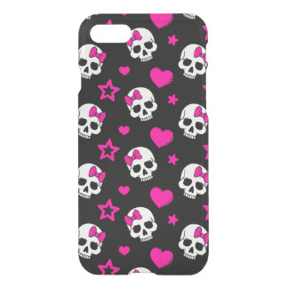 Lovey Goth Skulls in Bright Pink iPhone 7 Case