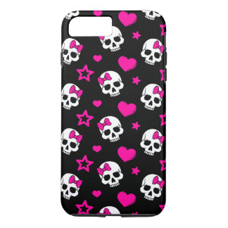 Lovey Goth Skulls in Bright Pink iPhone 7 Plus Case