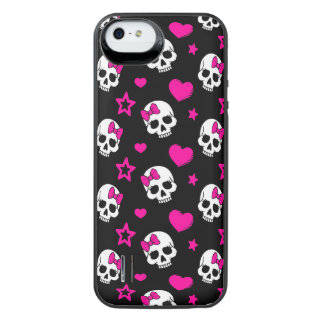 Lovey Goth Skulls in Bright Pink iPhone SE/5/5s Battery Case