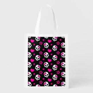 Lovey Goth Skulls in Bright Pink Market Totes