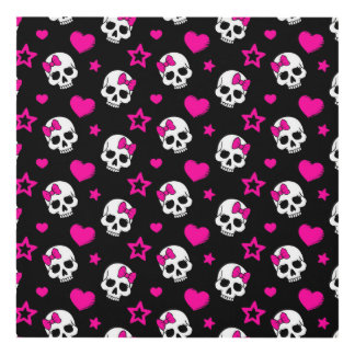 Lovey Goth Skulls in Bright Pink Panel Wall Art