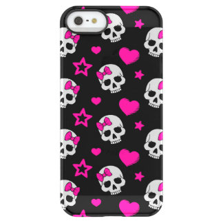 Lovey Goth Skulls in Bright Pink Permafrost® iPhone SE/5/5s Case