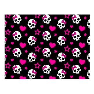 Lovey Goth Skulls in Bright Pink Postcard