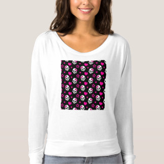 Lovey Goth Skulls in Bright Pink T-shirt
