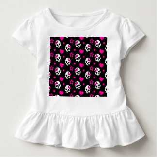 Lovey Goth Skulls in Bright Pink Toddler T-shirt