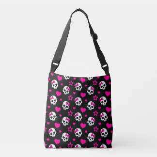 Lovey Goth Skulls in Bright Pink Tote Bag