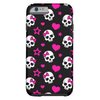Lovey Goth Skulls in Bright Pink Tough iPhone 6 Case