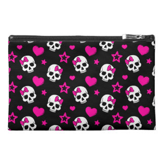Lovey Goth Skulls in Bright Pink Travel Accessory Bags