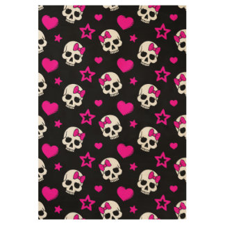 Lovey Goth Skulls in Bright Pink Wood Poster