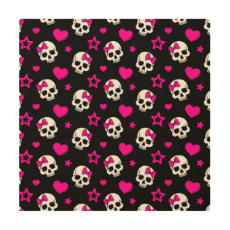 Lovey Goth Skulls in Bright Pink Wood Wall Art