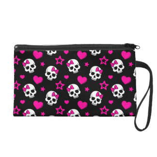 Lovey Goth Skulls in Bright Pink Wristlet Purse