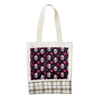 Lovey Goth Skulls in Bright Pink Zazzle HEART Tote Bag