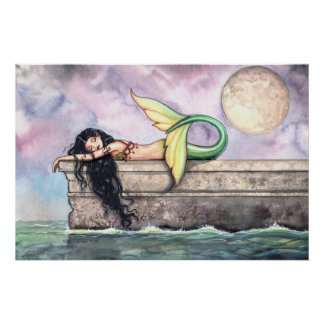 Lovey Mermaid on Pier Poster Print