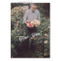 Lovey Retro Floral For You, Man Holding Roses Greeting Card