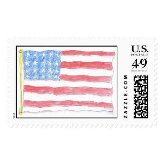 Lovie and Dodge Old Glory Postage Stamps