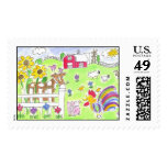 Lovie and Dodge - The Farm Postage Stamps