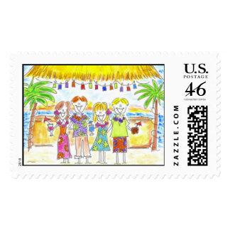 Lovie and Dodge Tiki Hut Postage Stamp