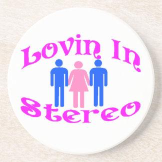 Lovin In Stereo Two Men Drink Coaster