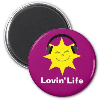 Lovin' Life happy sun & headphones magnet
