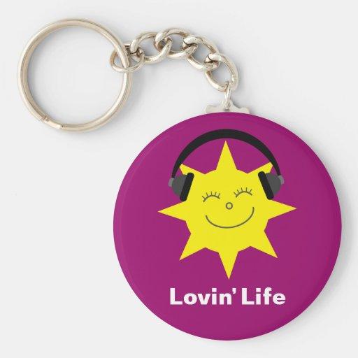 Lovin' life sun & headphones keychain