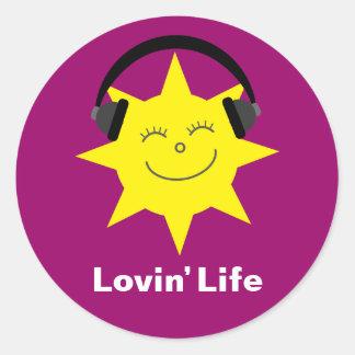 Lovin' Life Sun & Headphones stickers