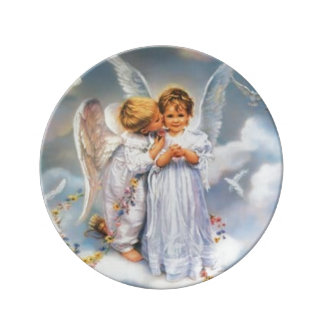 Loving Baby Angels Decorative Porcelain Plate