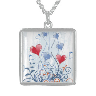 Loving Blue and Red Hearts Silver Necklace