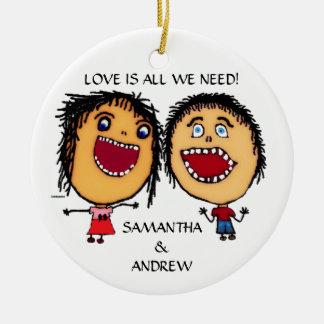 Loving Brother and Sister Custom Christmas Ceramic Ornament
