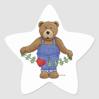 Loving Brown Bear Star Sticker