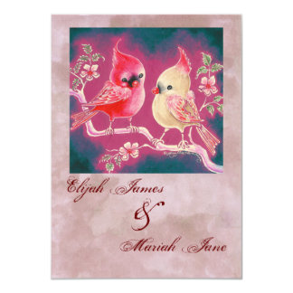 Loving Cardinal Pair For Wedding 4.5x6.25 Paper Invitation Card