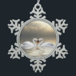 """Loving Christmas swans Snowflake Pewter Christmas Ornament<br><div class=""""desc"""">Two swans with their necks intertwined into a heart shape in a pewter snowflake Christmas holiday ornament</div>"""