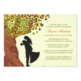 Loving Couple Initials Oak Tree Fall Bridal Shower 5x7 Paper Invitation Card