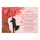 Loving Couple Initials Oak Tree Fall Wedding Card