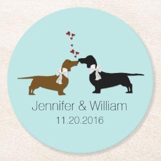Loving Dachshunds Wedding Paper Coasters
