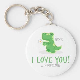 Loving Dinosaur Basic Round Button Keychain