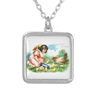 Loving Easter Greetings Square Pendant Necklace