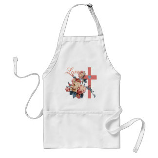 LOVING FLOWERS AND CROSS ADULT APRON