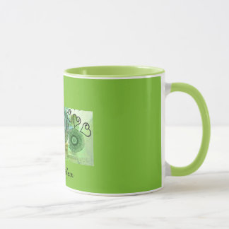 """LOVING GREEN"" 11 oz. RINGER COFFEE MUG"
