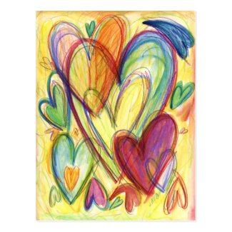 Loving Healing Hearts Art Custom Note Postcards