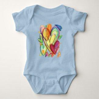 Loving Healing Hearts Art Onezie Jersey One-Piece Bodysuit