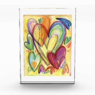 Loving Healing Hearts Art Painting Paperweight Acrylic Award